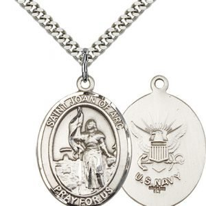 Sterling Silver St. Joan of Arc - Navy Pendant