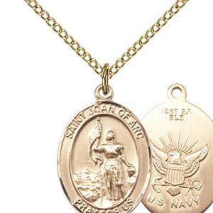 14kt Gold Filled St. Joan Of Arc - Navy Pendant