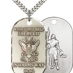 Sterling Silver Navy Iraq - St Joan of Arc Pendant