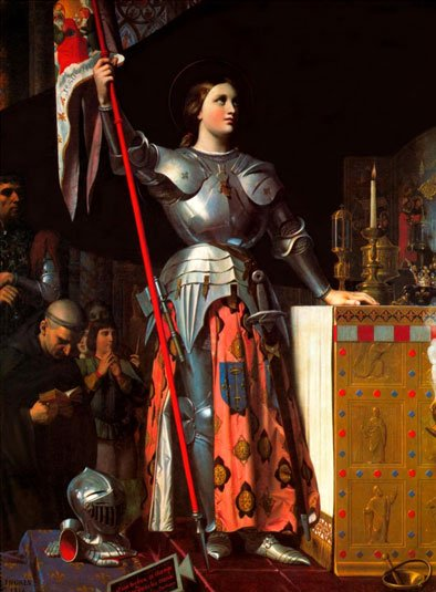 St Joan of Arc in Soldiers Armor holding a Banner