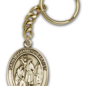 Antique Gold St John the Baptist Keychain