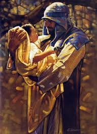 Joseph and the baby Jesus