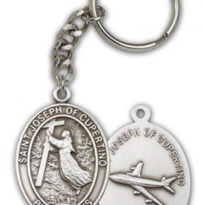 Antique Silver St Joseph of Cupertino Keychain