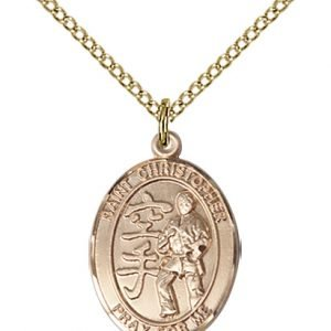 Gold Filled St Christopher / Karate Pendant