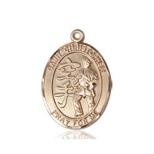 14kt Gold St Christopher / Karate Medal