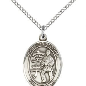 Sterling Silver St Christopher / Karate Pendant