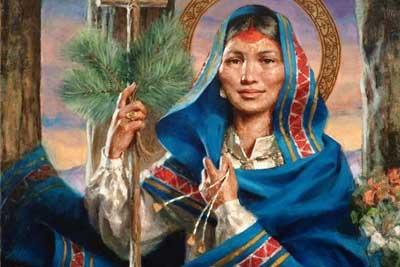 Saint Kateri Tekakwitha with Halo