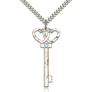 Key - Double Hearts Pendant - March Birthstone - Sterling Silver #89616