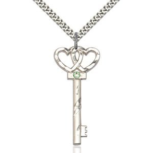 Key - Double Hearts Pendant - August Birthstone - Sterling Silver #89621
