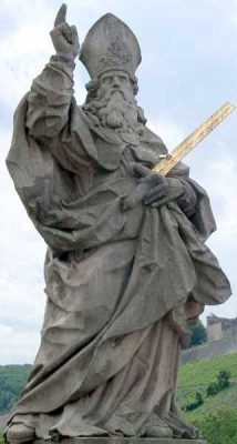 Statue of St Killian and his golden sword