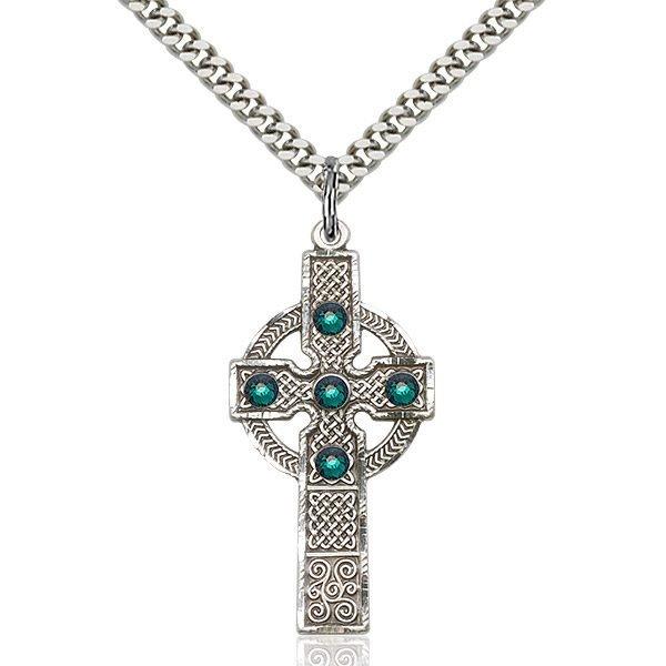 Kilklispeen Cross Pendant - May Birthstone - Sterling Silver #88215