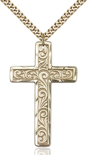 Gold Filled Knurled Cross Necklace #87784