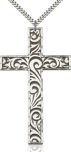 Sterling Silver Knurled Cross Necklace #87719