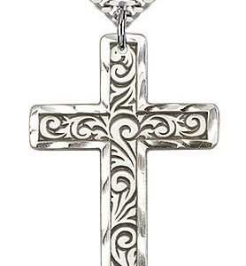 Sterling Silver Knurled Cross Necklace #87787