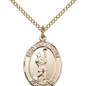 Gold Filled St. Christopher/Lacrosse Pendant