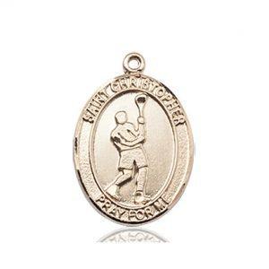 14kt Gold St. Christopher/Lacrosse Medal