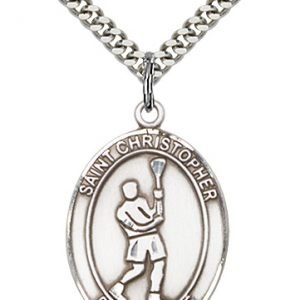 Sterling Silver St. Christopher/Lacrosse Pendant