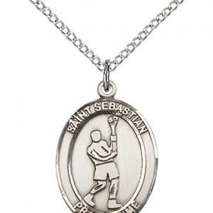 Sterling Silver St. Sebastian/Lacrosse Pendant