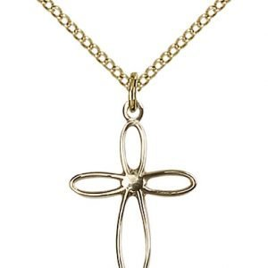 Gold Filled Loop Cross Necklace #87396