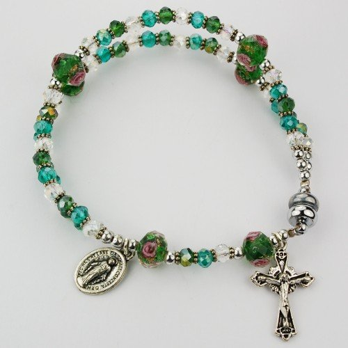 Magnetic Clasp Green Crystal Rosary Bracelet