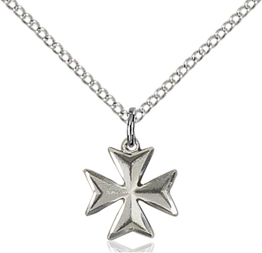 Sterling Silver Maltese Cross Necklace #87862