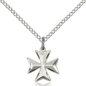 Sterling Silver Maltese Cross Necklace #87863