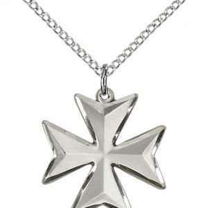 Sterling Silver Maltese Cross Necklace #87870
