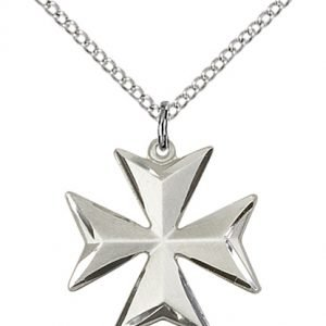 Sterling Silver Maltese Cross Necklace #87871