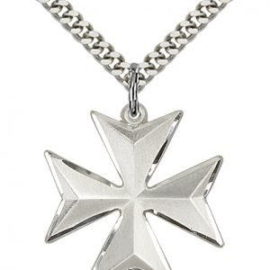 Sterling Silver Maltese Cross Necklace #87878