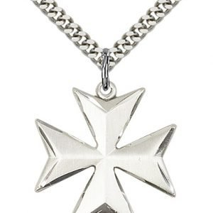 Sterling Silver Maltese Cross Necklace #87879