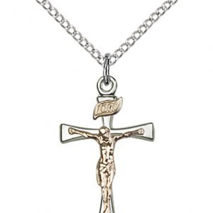 Two-Tone GF - SS Maltese Crucifix Necklace #87489