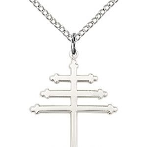 Sterling Silver Maronite Cross Necklace #86879