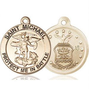 St. Michael Air Force Pendant - 14 KT Gold (#89833)