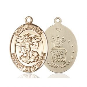 St. Michael Air Force Pendant - 14 KT Gold (#89869)