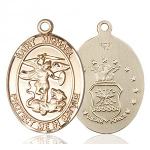 St. Michael Air Force Pendant - 14 KT Gold (#89887)