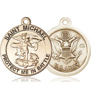St. Michael Army Pendant - 14 KT Gold (#89834)