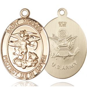 St. Michael Army Pendant - 14 KT Gold (#89870)