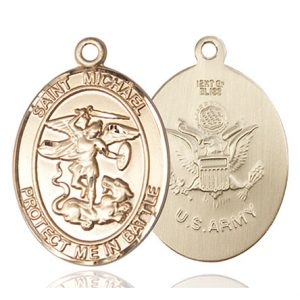 St. Michael Army Pendant - 14 KT Gold (#89888)