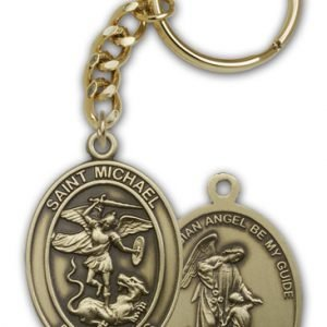Antique Gold St Michael the Archangel Keychain