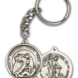 Antique Silver St Michael the Archangel Keychain