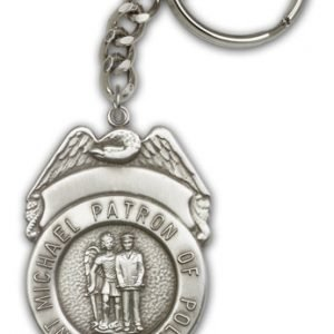 Antique Silver St Michael the Archangel Keychain