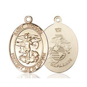 St. Michael Marines Pendant - 14 KT Gold (#89872)