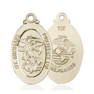 14kt Gold St. Michael - Marines Medal