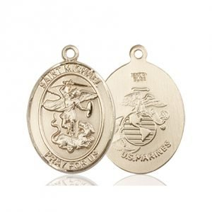 14kt Gold St. Michael - Marines Medal