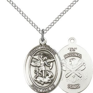 Sterling Silver St. Michael - Nat'l Guard Pendant
