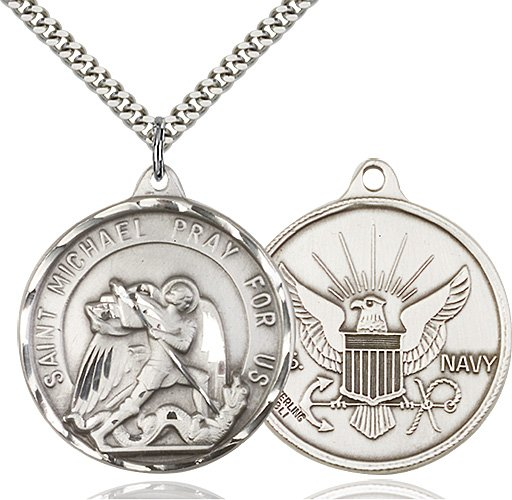 Sterling Silver St. Michael - Navy Pendant