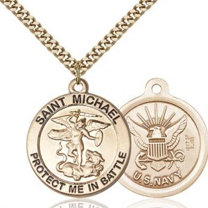 St. Michael Navy Pendant - Gold Filled (#89832)