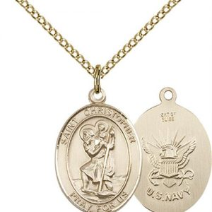 St. Michael Navy Pendant - Gold Filled (#89868)