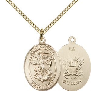 14kt Gold Filled St. Michael - Navy Pendant
