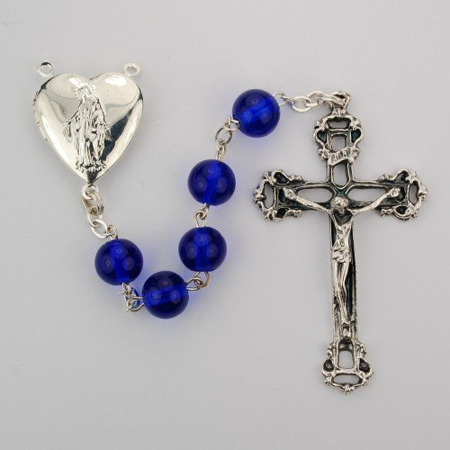 6mm blue glass bead rosary